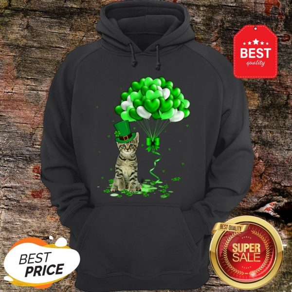 Cat Balloons Heart St. Patrick's Day 2020 Hoodie