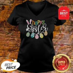 Colorful Happy Easter Day V-neck