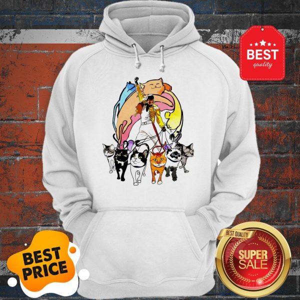Cute Freddie Mercury With His Cat I Love Dad Hoodie
