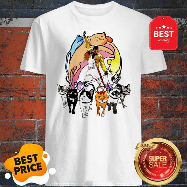 Cute Freddie Mercury With His Cat I Love Dad Shirt