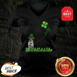 Good Lucky Saint Jack Russell Terrier Dog Shamrock St Patrick Day V-neck