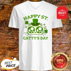 Happy St. Catty's Day St Patricks Funny Cat Clover V-neck