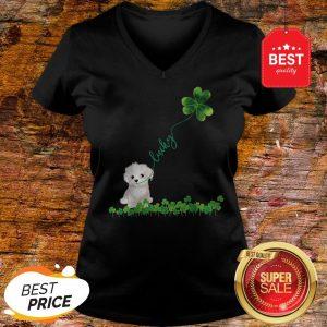 Lucky Maltese Dog Shamrock St Patrick Day V-neck