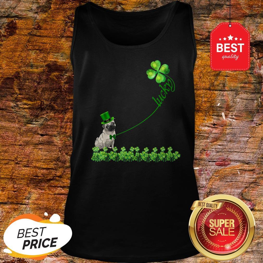 Lucky Saint Puggle Dog Shamrock St Patrick Day Tank Top