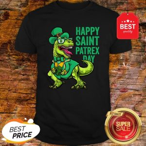 Nice St Patricks Day Irish Leprechaun Dinosaur T Rex Boys Shirt