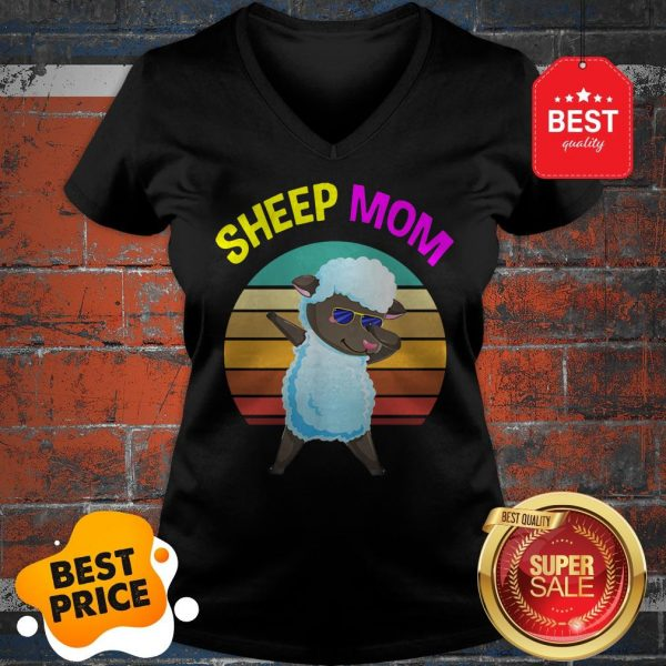 Official Cute Dabbing Sheep Mom Lovers Gifts Mama Mothers V-neck
