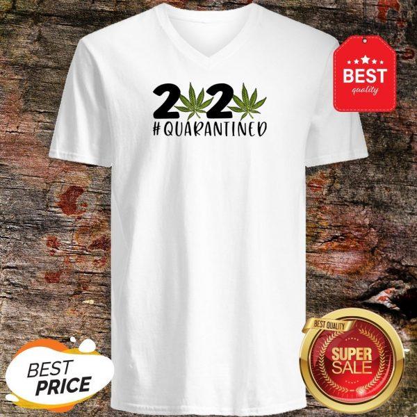 Cannabis Weed 2020 #Quarantined V-neck