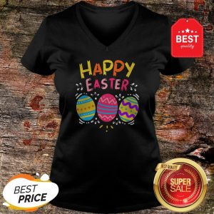 Colorful Eggs Happy Easter Day V-neck