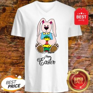 Cute Bunny Rabbit Happy Easter Day V-neck