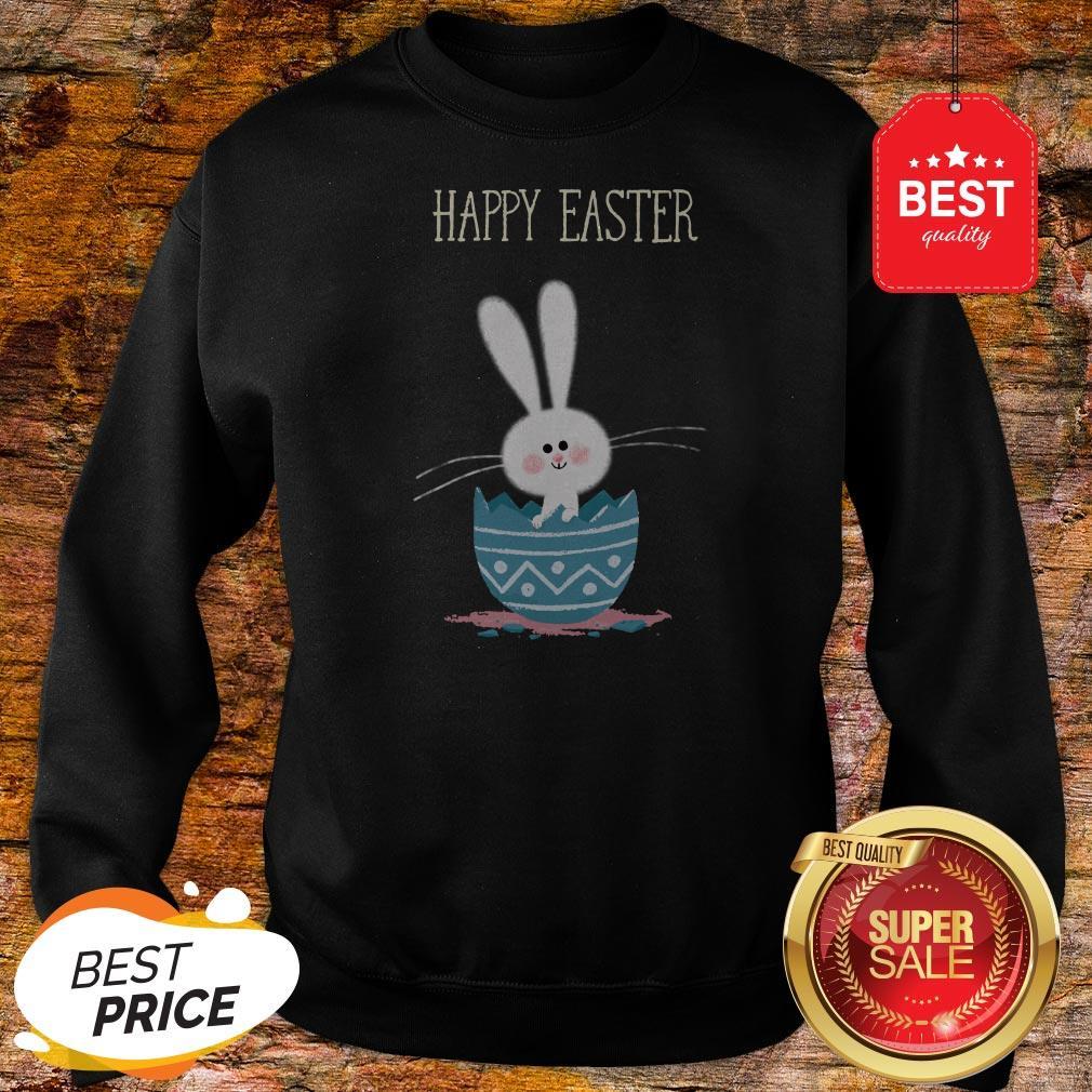 Cute Bunny Rabbit In Egg Happy Easter Day Sweatshirt