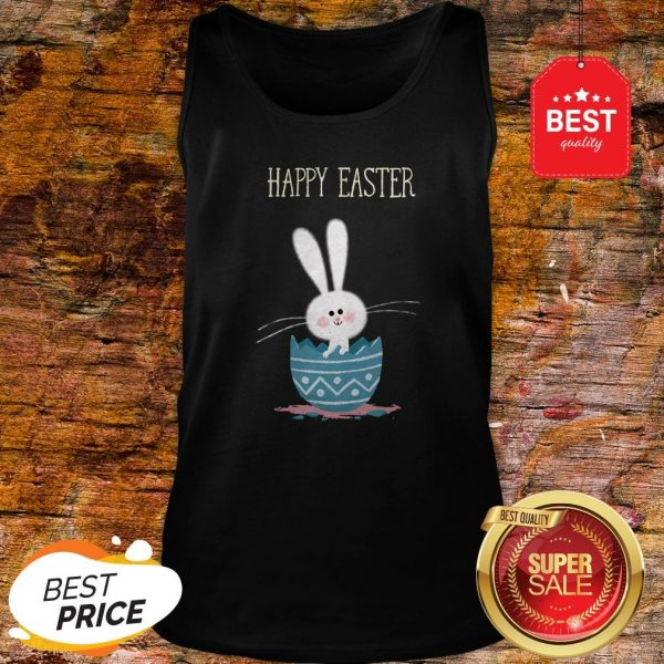 Cute Bunny Rabbit In Egg Happy Easter Day Tank Top