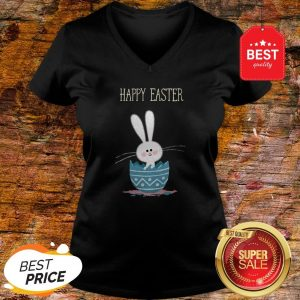 Cute Bunny Rabbit In Egg Happy Easter Day V-neck