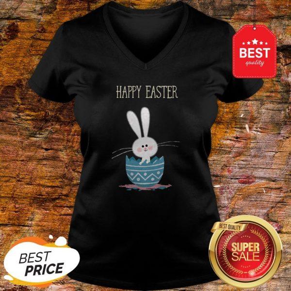 Cute Bunny Rabbit In Egg Happy Easter Day V-neck