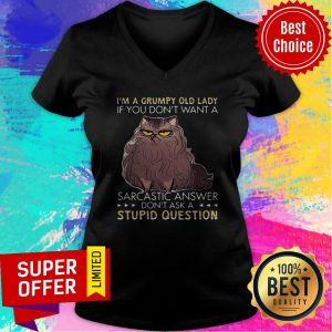 Grumpy Cat I'm A Grumpy Old Lady Don't Ask A Stupid Question V-neck