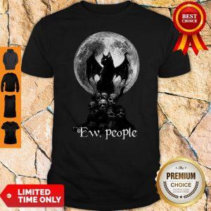 Official Bat And Black Cat Moon Skull Ew People Shirt