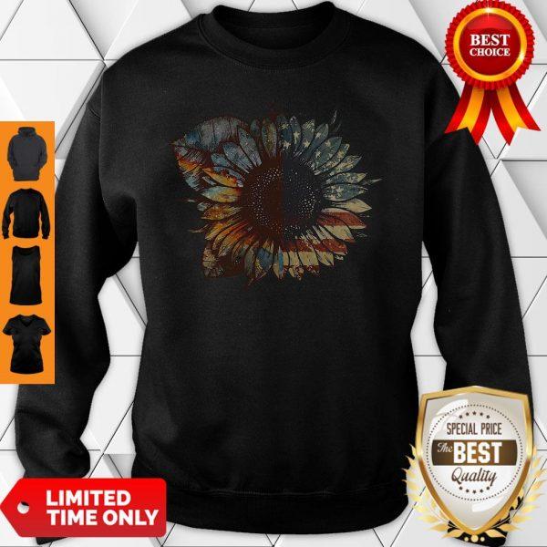 Nice Great Vintage Sunflower American Flag Sweatshirt