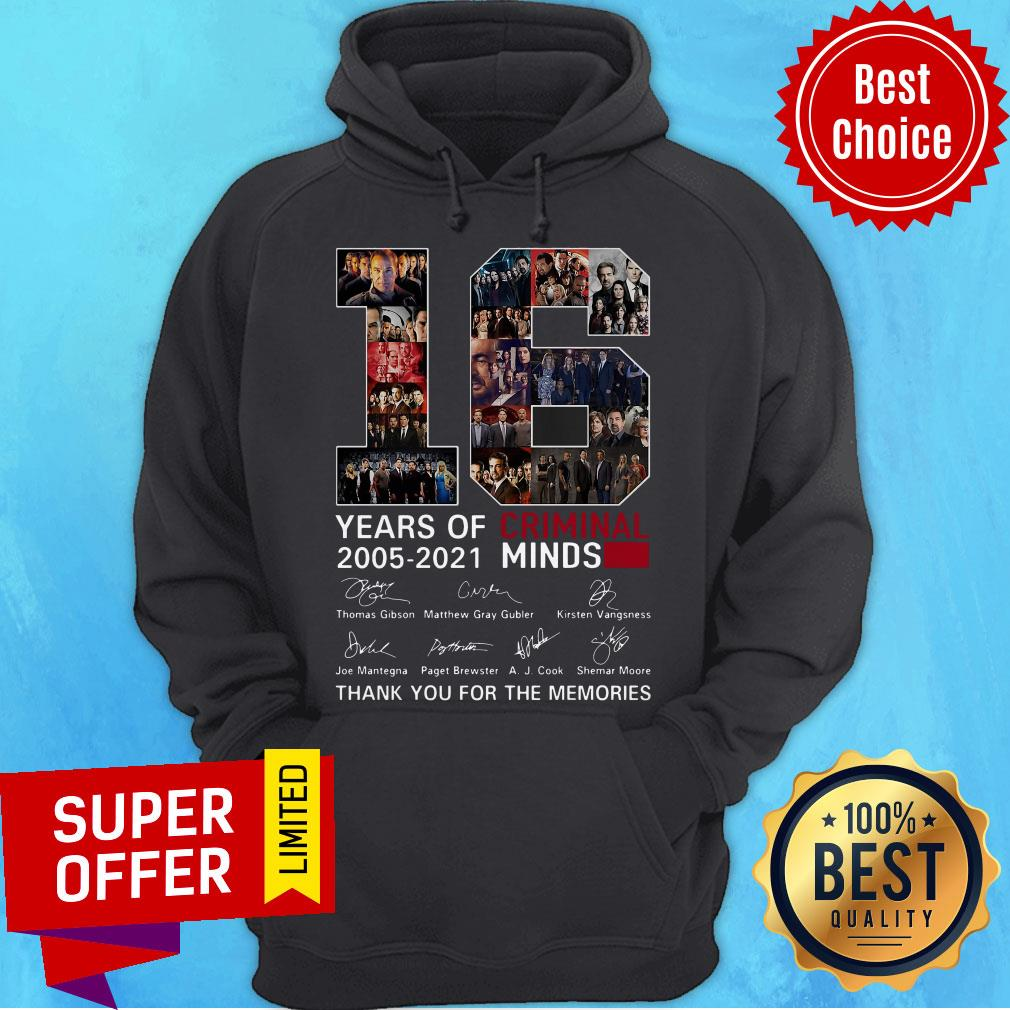 16 Years Of Criminal Minds 2005 2021 Thank You For The Memories Signatures Hoodie