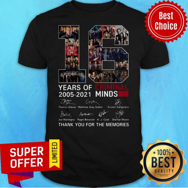16 Years Of Criminal Minds 2005 2021 Thank You For The Memories Signatures Shirt