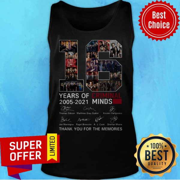 16 Years Of Criminal Minds 2005 2021 Thank You For The Memories Signatures Tank Top