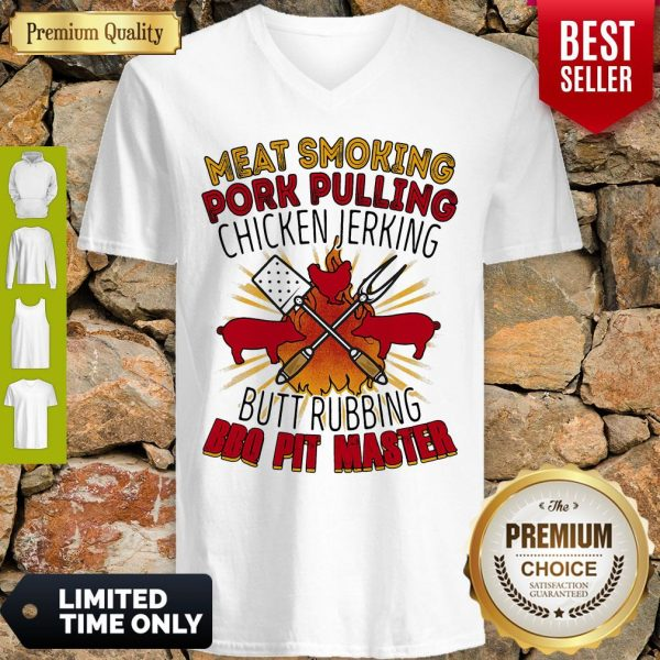 Meat Smoking Pork Pulling Chicken Jerking Butt Rubbing BBQ Pit Master V-neck