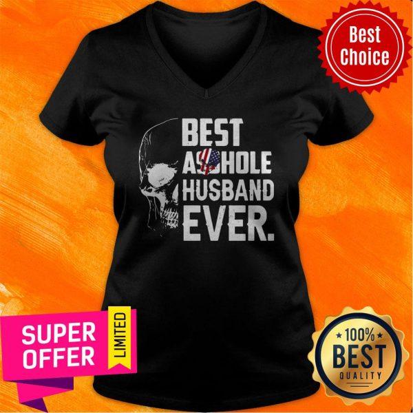 Nice Best Assohle Husband Ever Skull V-neck