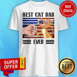 Official American Flag Best Cat Dad Ever Shirt