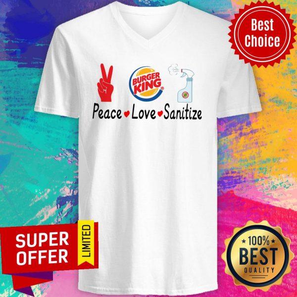 Official Burger King Peace Love Sanitize V-neck