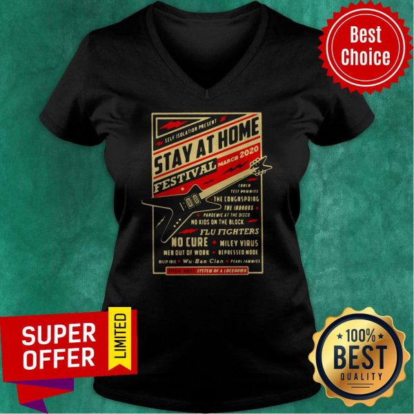 Official Self Isolation Present Stay At Home Festival V-neck