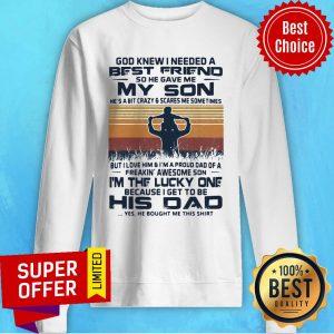 Vintage Daughter Dad I Am A Dad Of A Badass Daughter Sweatshirt