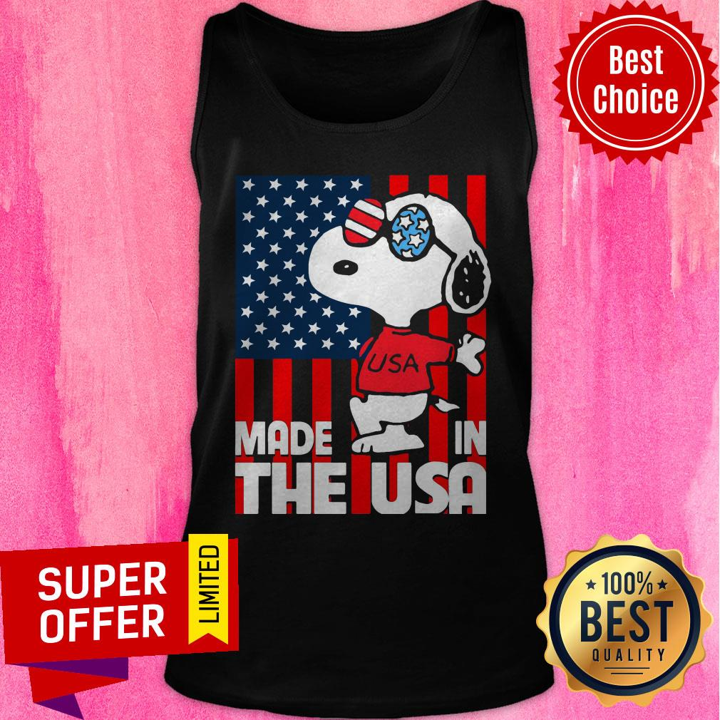 Awesome American Flag Made In The USA Snoopy Tank Top
