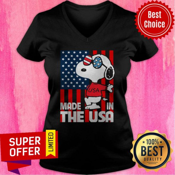 Awesome American Flag Made In The USA Snoopy V-neck