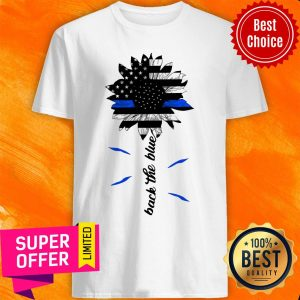 Awesome Black The Blue Sunflower Support Police American Flag Shirt