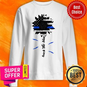 Awesome Black The Blue Sunflower Support Police American Flag Sweatshirt