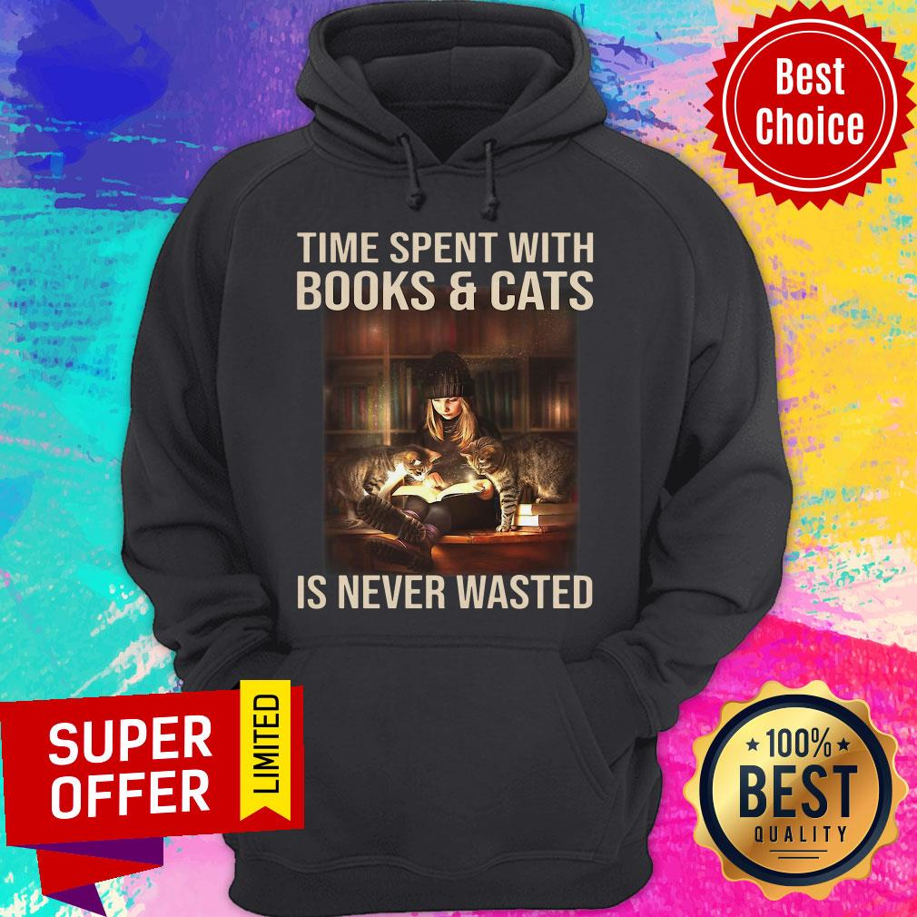 Awesome Time Spent With Books And Cats Is Never Wasted Hoodie