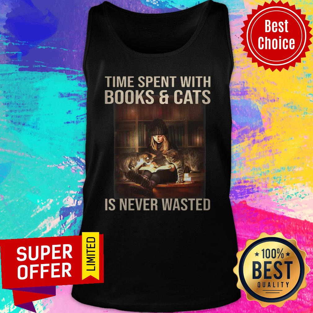 Awesome Time Spent With Books And Cats Is Never Wasted Tank Top