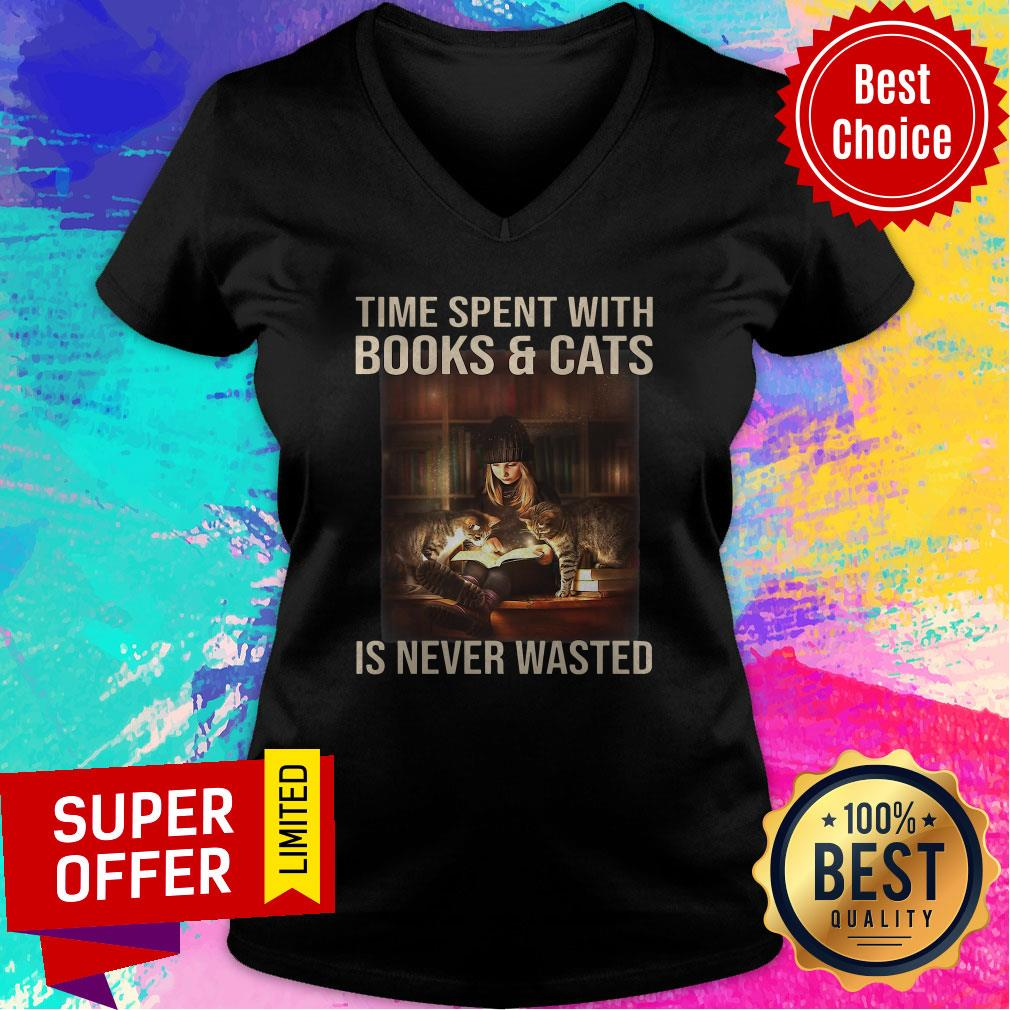 Awesome Time Spent With Books And Cats Is Never Wasted V-neck