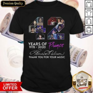 Funny 42 Year Of Prince 1978 2020 Thank You For Your Music Signature Shirt
