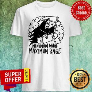 Funny Minimum Wage Maximum Rage Ringer Shirt