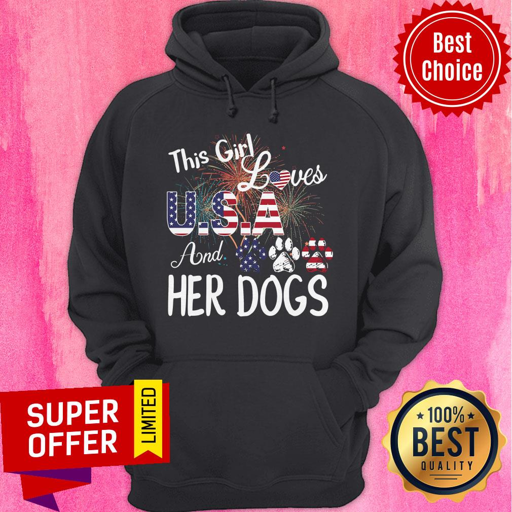 Nice This Girl Loves USA And Her Dog Independence Day Hoodie