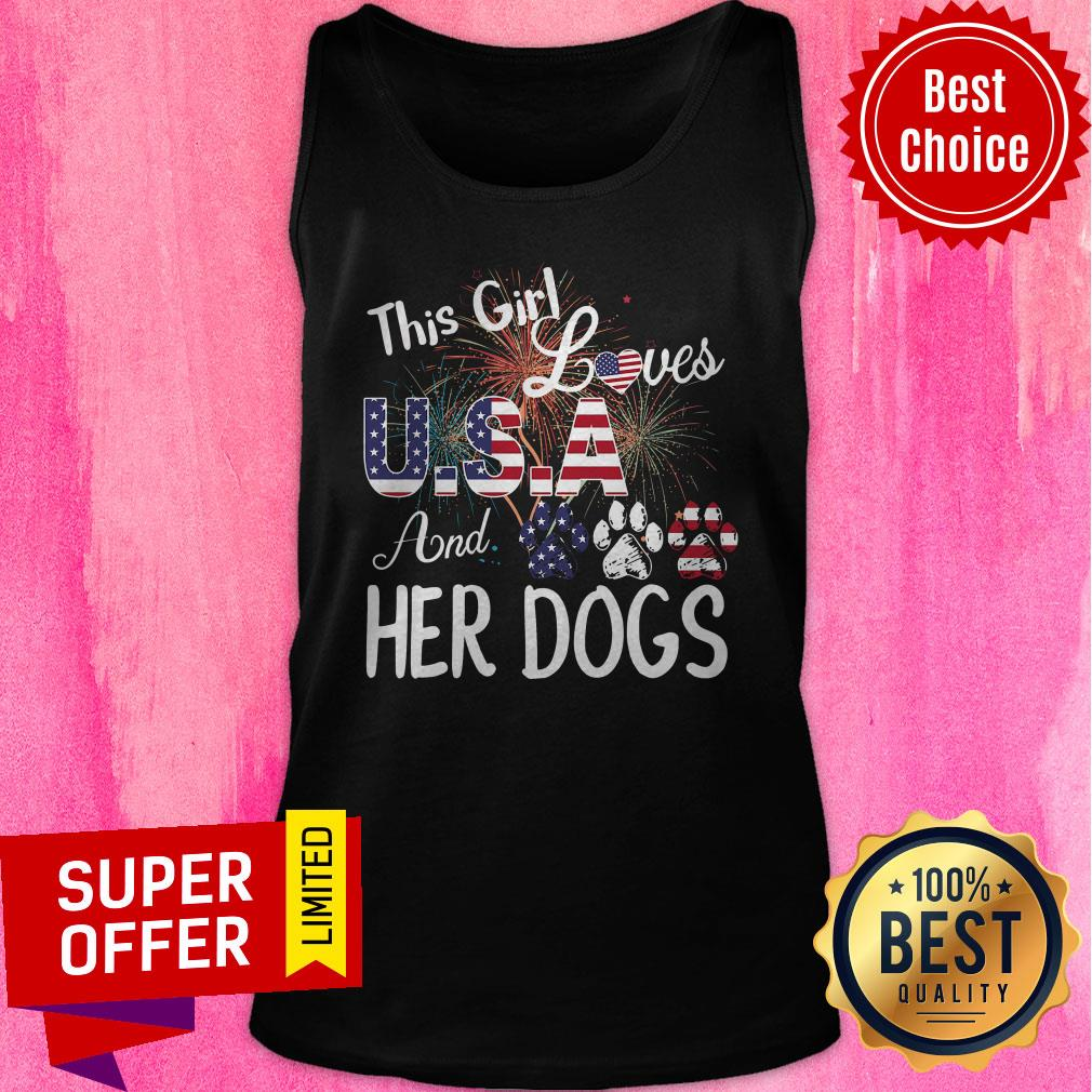 Nice This Girl Loves USA And Her Dog Independence Day Tank Top