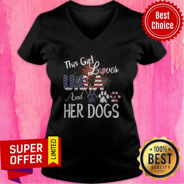 Nice This Girl Loves USA And Her Dog Independence Day V-neck