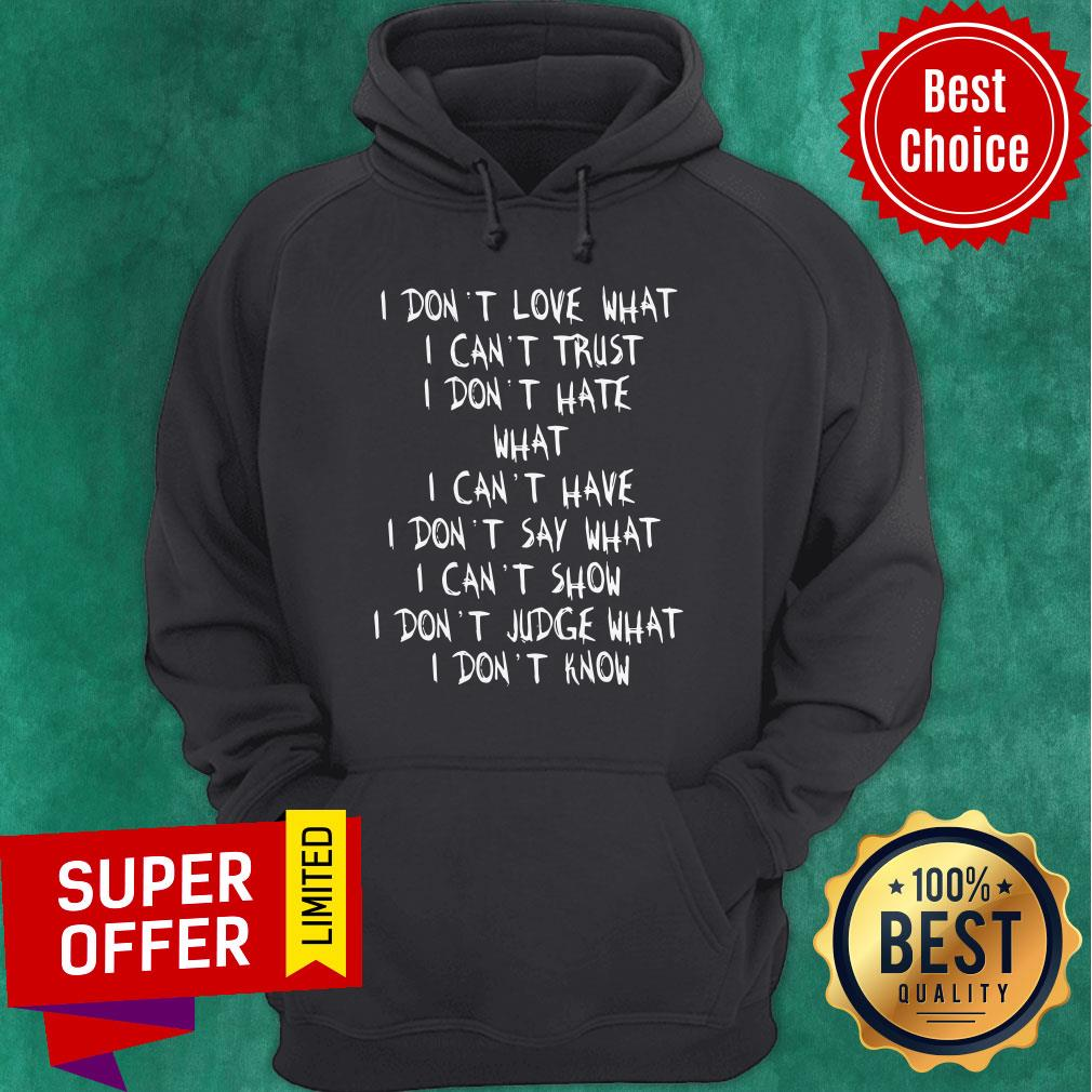 Official I Don't Love What I Can't Trust I Don't Have What I Can't Have Hoodie