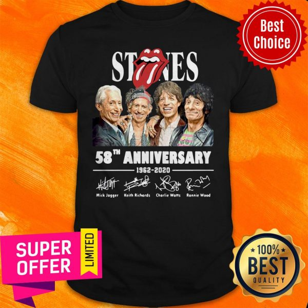 Awesome The Rolling Stones 58th Anniversary 1962 – 2020 Signatures Shirt
