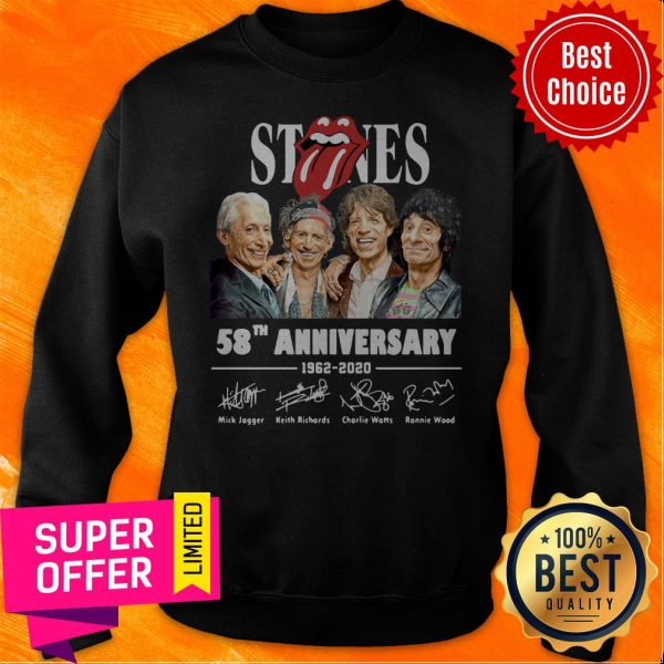 Awesome The Rolling Stones 58th Anniversary 1962 – 2020 Signatures Sweatshirt
