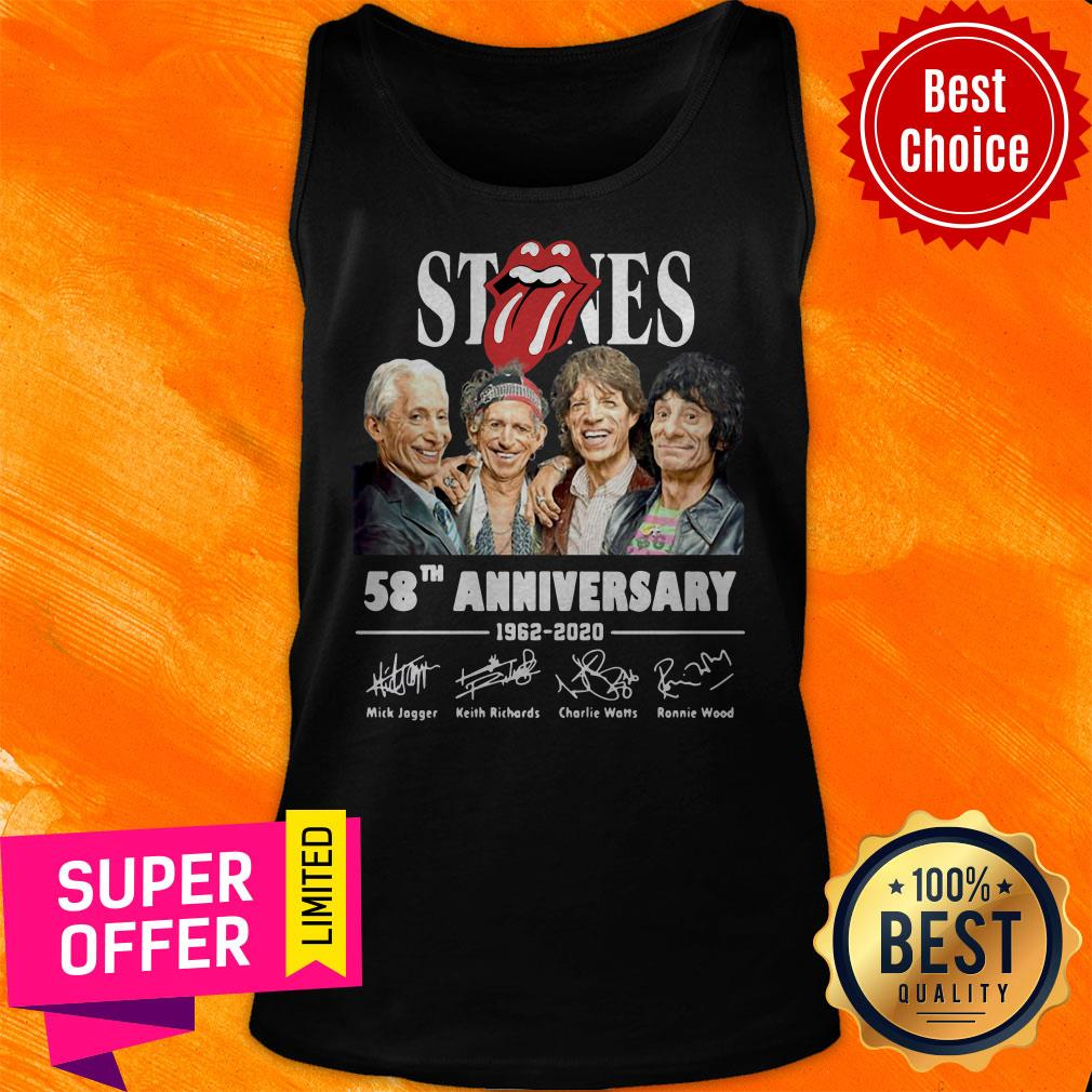 Awesome The Rolling Stones 58th Anniversary 1962 – 2020 Signatures Tank Top
