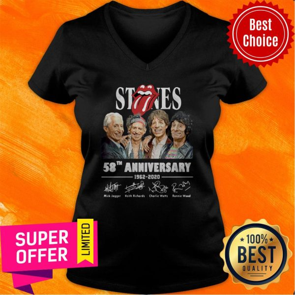 Awesome The Rolling Stones 58th Anniversary 1962 – 2020 Signatures V-neck