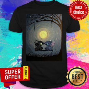 Nice Stitch And Toothless Talking To The Moon Shirt