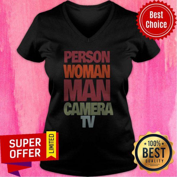 Nice Vintage Person Woman Man Camera TV V-neck