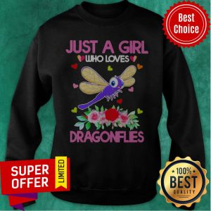 Top Just A Girl Who Loves Dragonflies Sweatshirt