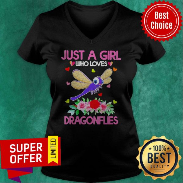 Top Just A Girl Who Loves Dragonflies V-neck